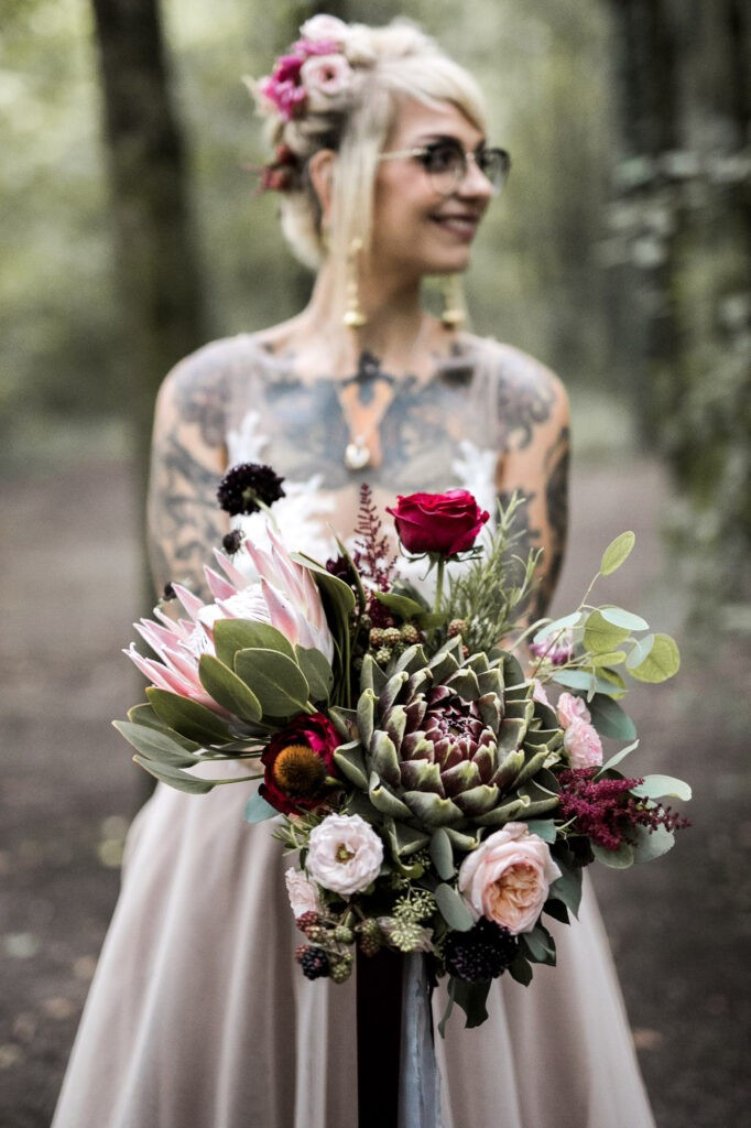 tattooed bohemian bride