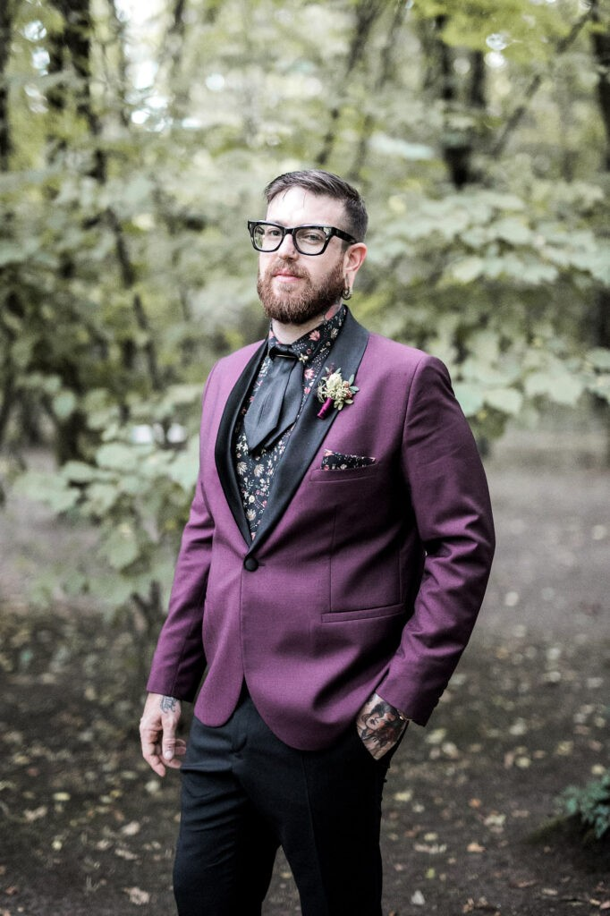 tattooed bohemian groom