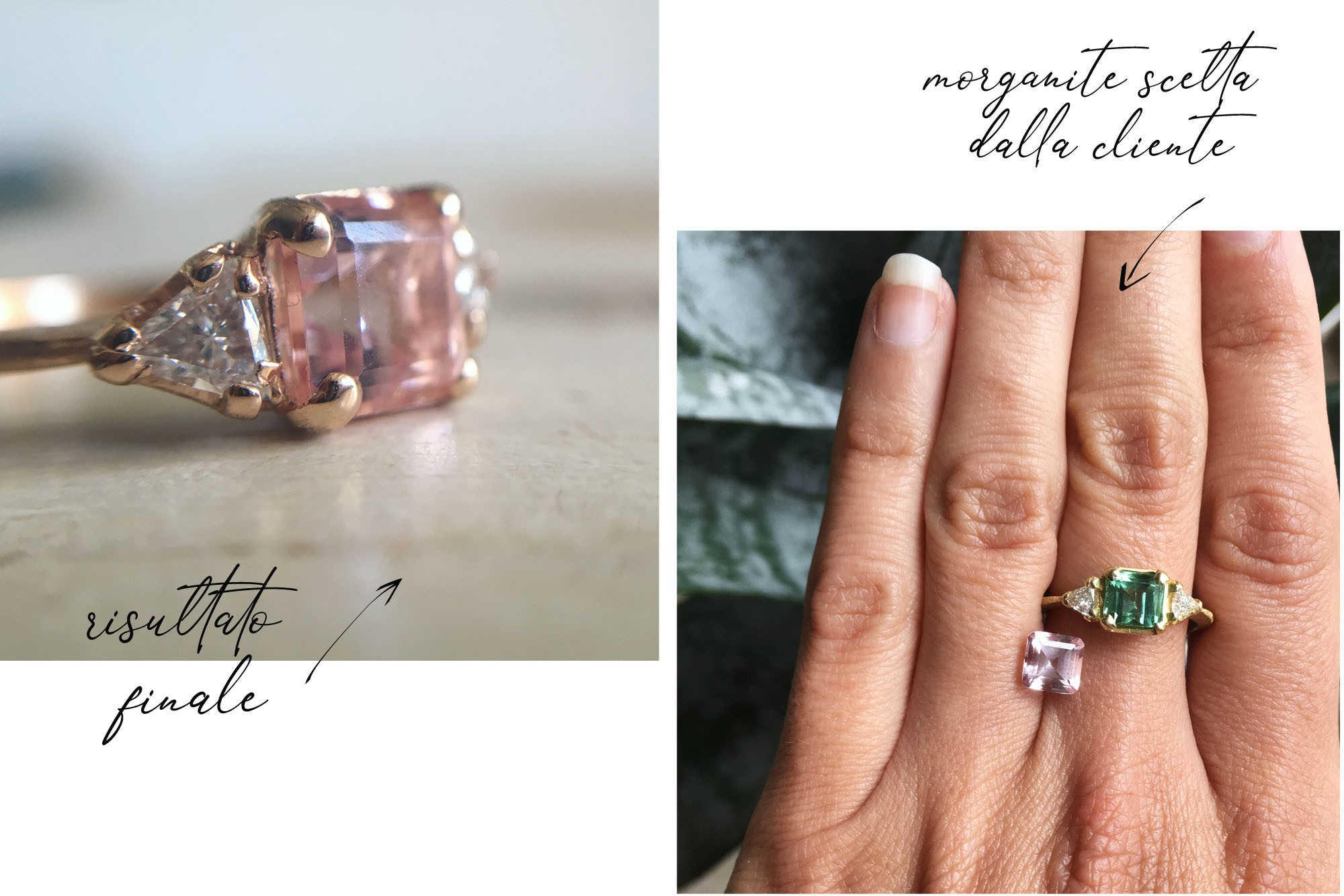 anello personalizzato con morganite e diamanti - My Golden Age